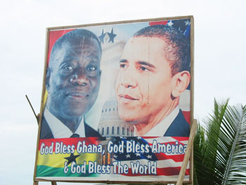 Billboards saluting the US and President Obama were everywhere in Cape Coast.