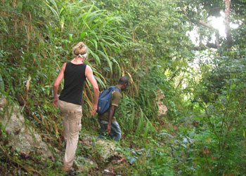 Hiking through the rainforest near Amedzofe, Ghana