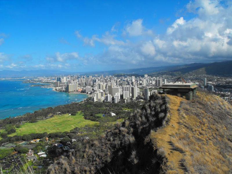 Waikiki, Hawaii, seen from the top of Diamond Head Crater