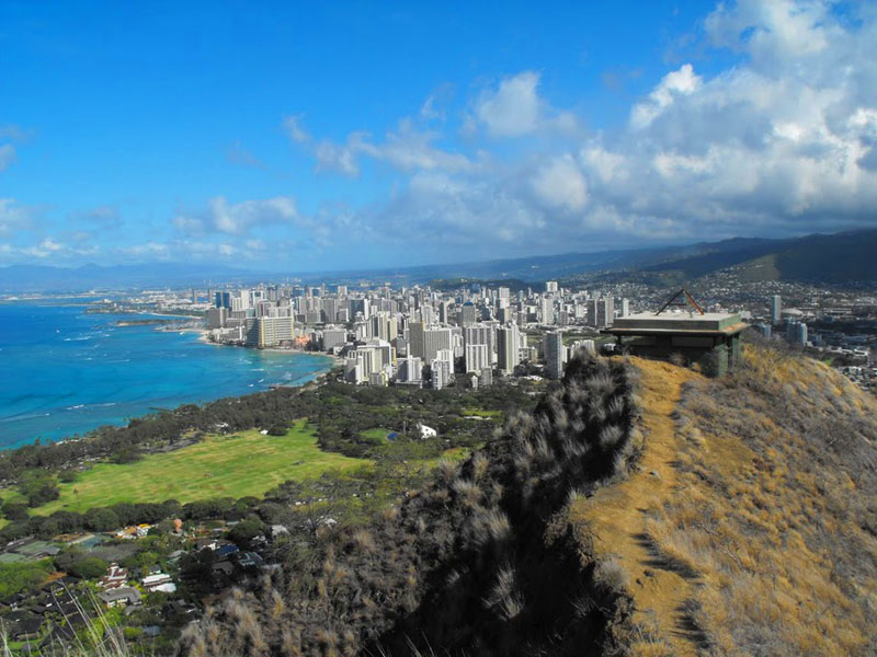 Waikiki, Hawaii, seen from the top of Diamond Head Crater