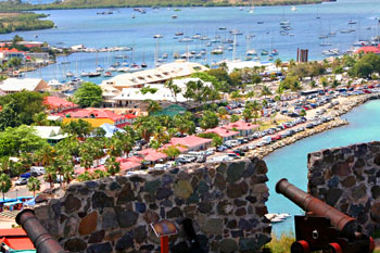Marigot, the capital of St. Martin, seen from Fort St. Louis