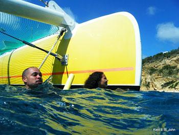 Swimming off the catamaran
