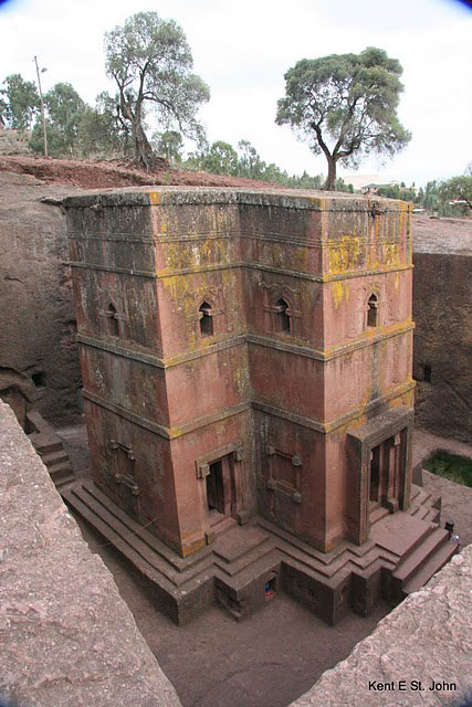 One of the many churches carved from rock in the small village of Lalibela, Ethiopia
