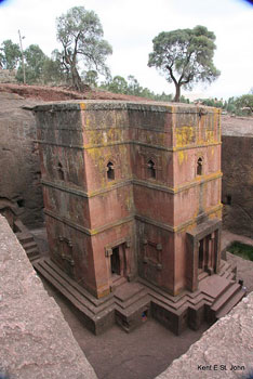 One of the many churches carved from rock in the small village of Lalibela