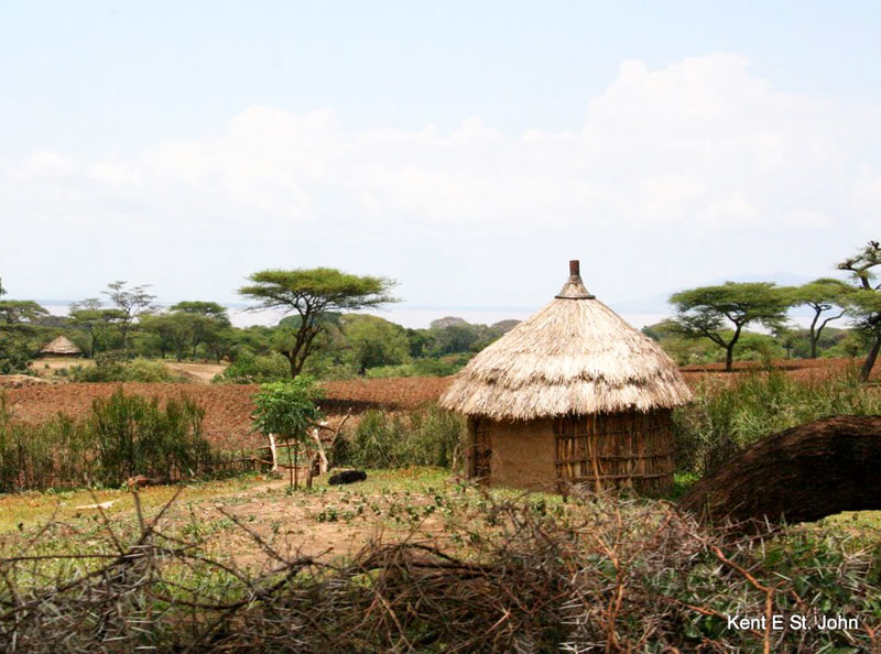 Traditional thatched hut in the Rift Valley