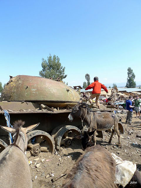 A child plays on a tank left over from the Italian invasion of Ethiopia in 1935.
