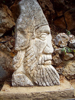 Phrygian head at the entrance to Jeita groot
