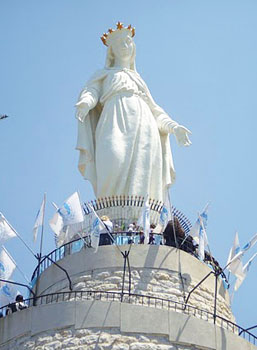 The Blessing Virgin of Harissah, high up on a mountain overlooking Beirut