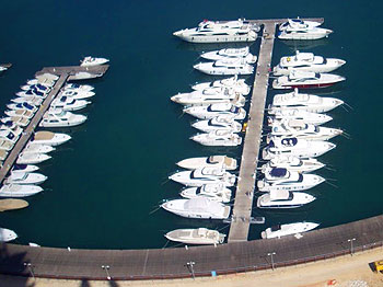 Beirut's private yacht port seen from the roof of Four Seasons Hotel