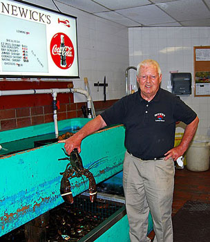 Jack Newick, the owner of Newick's Lobster Houses fishes out a big fat lobster from one of the tanks in his restaurant. Photos by Pinaki Chakraborty.