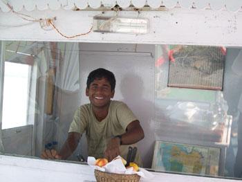 Sridam Gayen happily steers the Sundari.