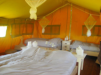 Interior of a Simply Canvas tent