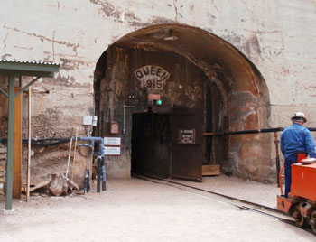 Entrance to the Queen Mine in Bisbee, Arizona.  Photos by Maureen Bruschi.