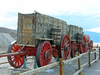 One of the famous 20-mule borax wagons in Death Valley California