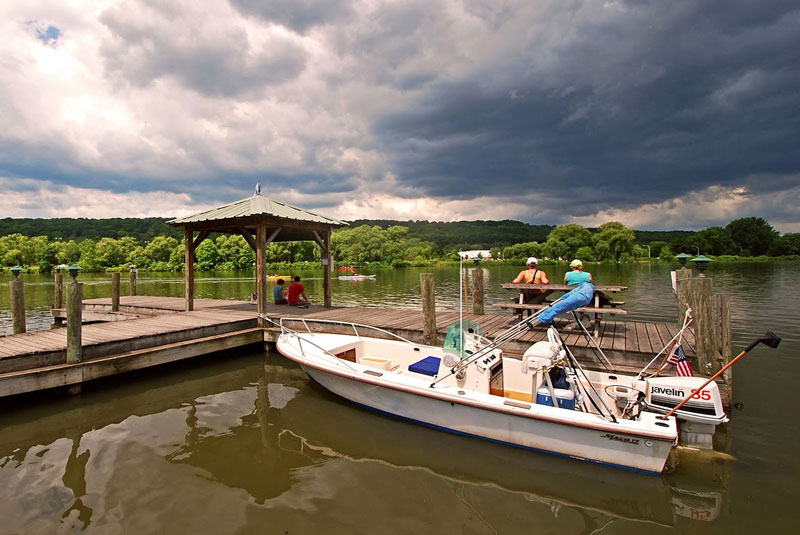 The Ithaca Farmer's Market opens out to this lovely dock by the Cayuga Lake