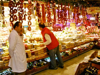 A colorful food shop in the Egyptian Spice Market
