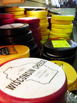 The Wisconsin Cheese Mart offers a variety of over 175 locally produced cheeses.