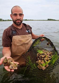 Perry Raso, oyster farmer. photo by Paul Shoul.
