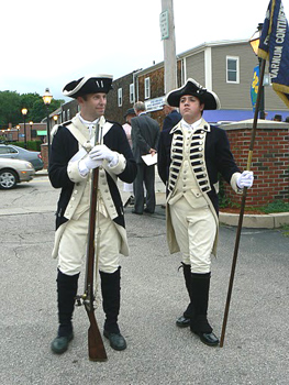 Revolutionary War re-enactors get ready for a parade in East Greenwich, RI. photos by Max Hartshorne.