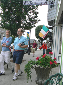 Townsfolk enjoy the Stroll, walking up and down Main St. East Greenwich, RI.