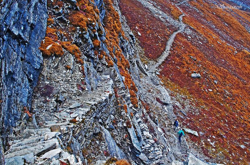 Stairs made of slate rocks, Uttarakhand, India