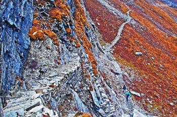 Stairs made of slate rocks