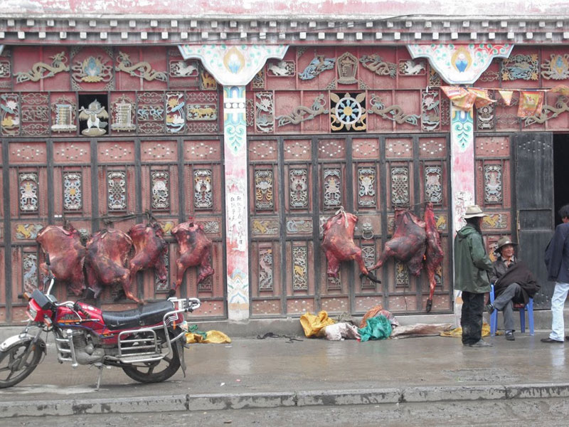 Yak carcasses hanging on Tagong's main street in China's Sichuan Province