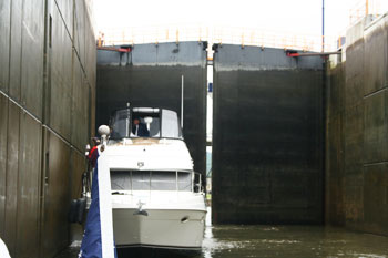 Inside a lock on the Erie Canal