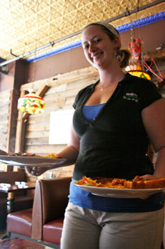 Serving up some great grub in Albany, NY. Sheila Keirney, our waitress at the Bayou Cafe