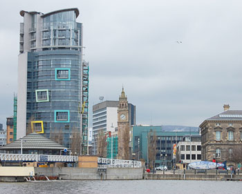 New and old buildings, including the Albert Clock, on the  Belfast waterfront