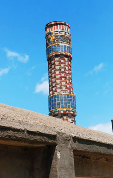 Whimsical chimney at the Moravian Tile Works