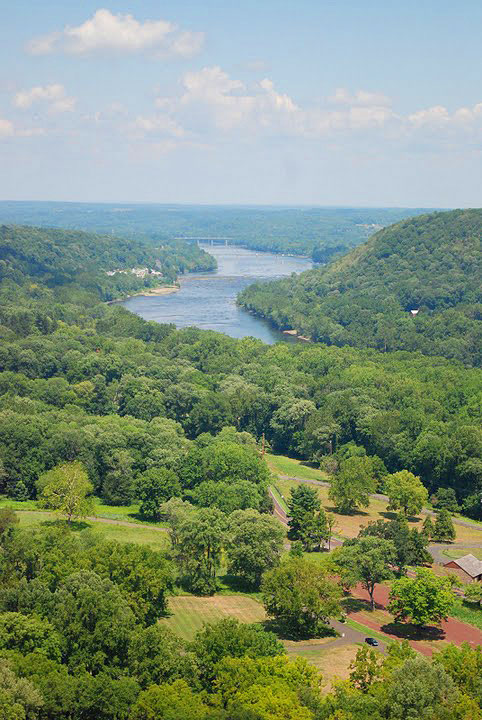 The view from Bowman's Hill Tower in Washington Crossing, Pennsylvania