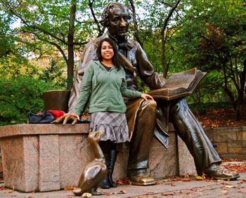 The author with the scuplture of Hans Christian Andersen in Central Park