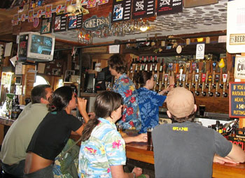 Locals and tourists alike enjoy the numerous fine brews found at the Rogue National Brewery.