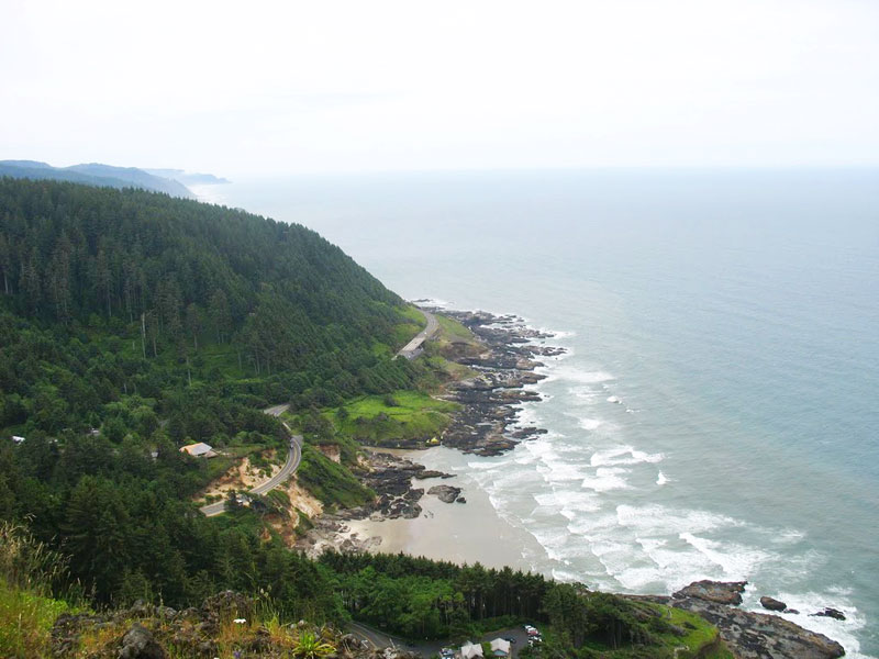 Highway 101 from the look-out at Cape Perpetua on the Oregon Coast