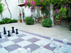 The giant chess set in the courtyard of the Karia Princess Hotel in Bodrum, Turkey