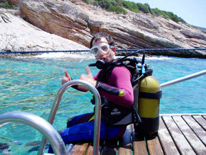 The author, ready to dive in the Aegean Sea in Bodrum, Turkey