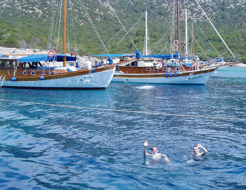 Swimming in the Aegean Sea in Bodrum, Turkey