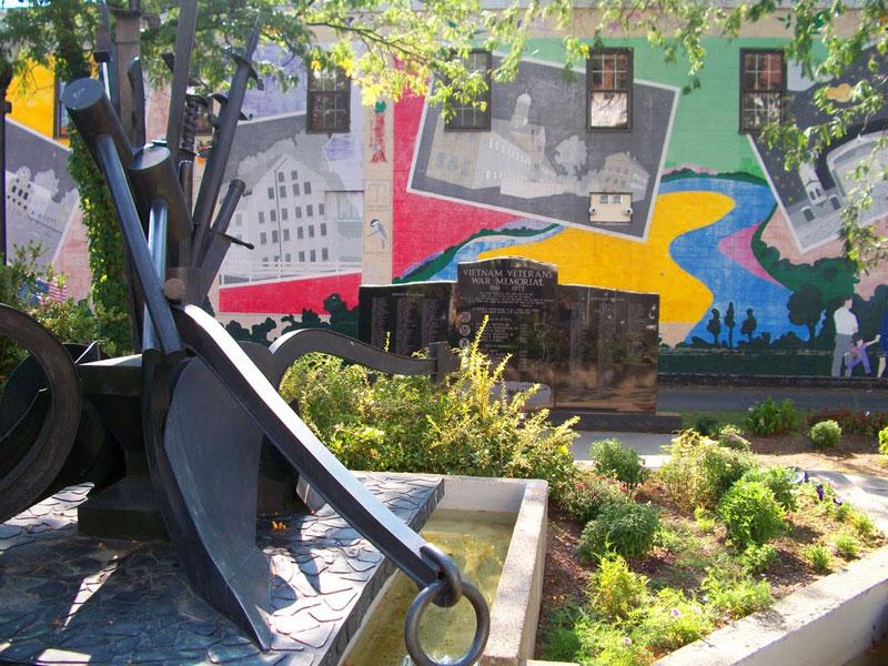 The Vietnam Veterans War Memorial on Main Street in Greenfield, Massachusetts