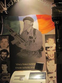 This poster hangs behind the bar at The Emerald Bar in Bondoran, Northern Ireland.