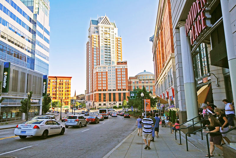 As in other New England cities, brand names and malls have taken over the shopping district in Downtown Providence.