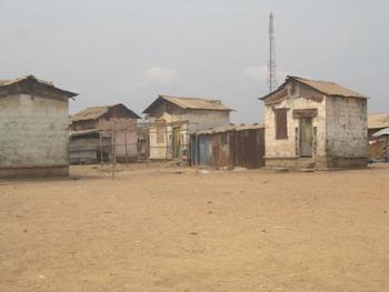 Shacks in Sierra Leone.
