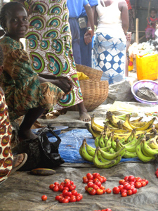 Market fruit seller in Sierra Leone.
