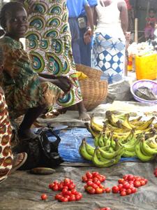 Market fruit seller in Sierra Leone.