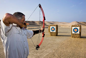 Guests can try their skills on the archery range.