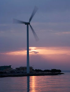 Forty wind turbines are planned for the island.