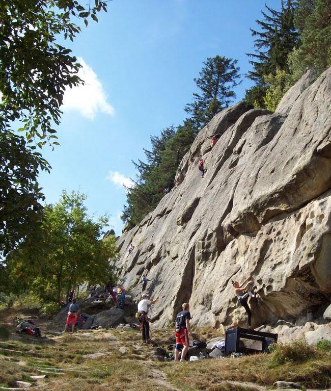 Czech families climbing Certovy Skaly in Wallachia, Czech Republic