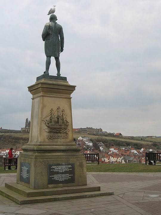Captain Cook looks out over the harbor in Whitby, England