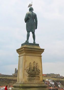 Captain Cook looks out over the harbor from Whitby's West Cliff. Photograph by Kimberly Engber