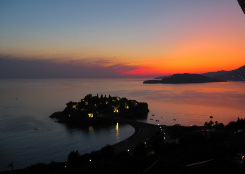 Sunset on Sveti Stefan in Montenegro